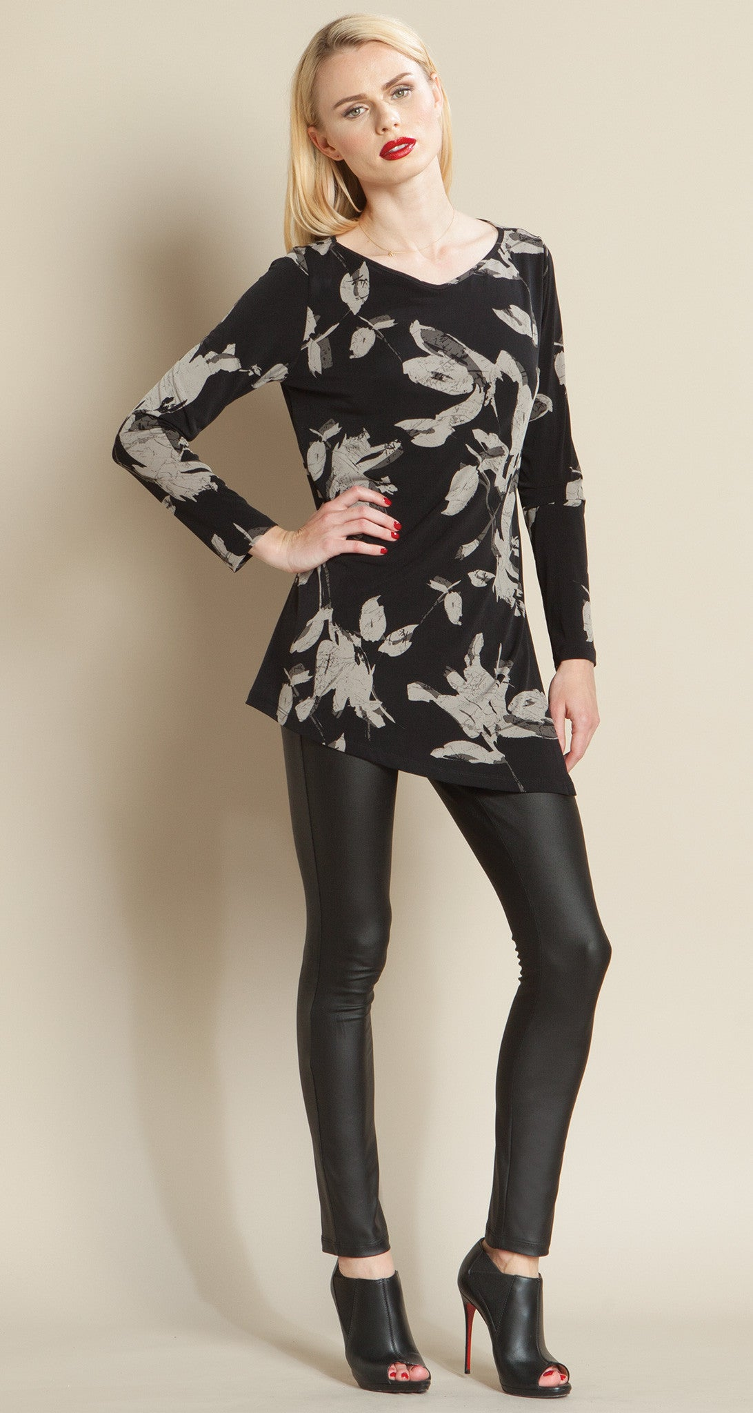V Point Neck Print Tunic - Clara Sunwoo