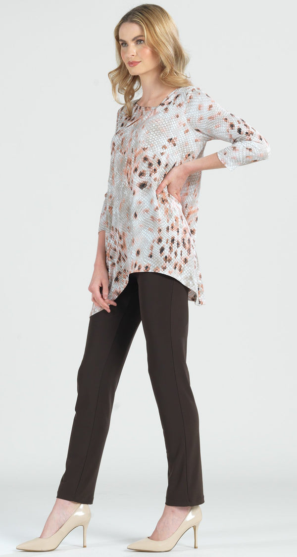 Python Print Angle Neckline Cut Out Accent Tunic - Limited Sizes!