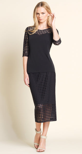 Perforated Sleeve Sweetheart Top