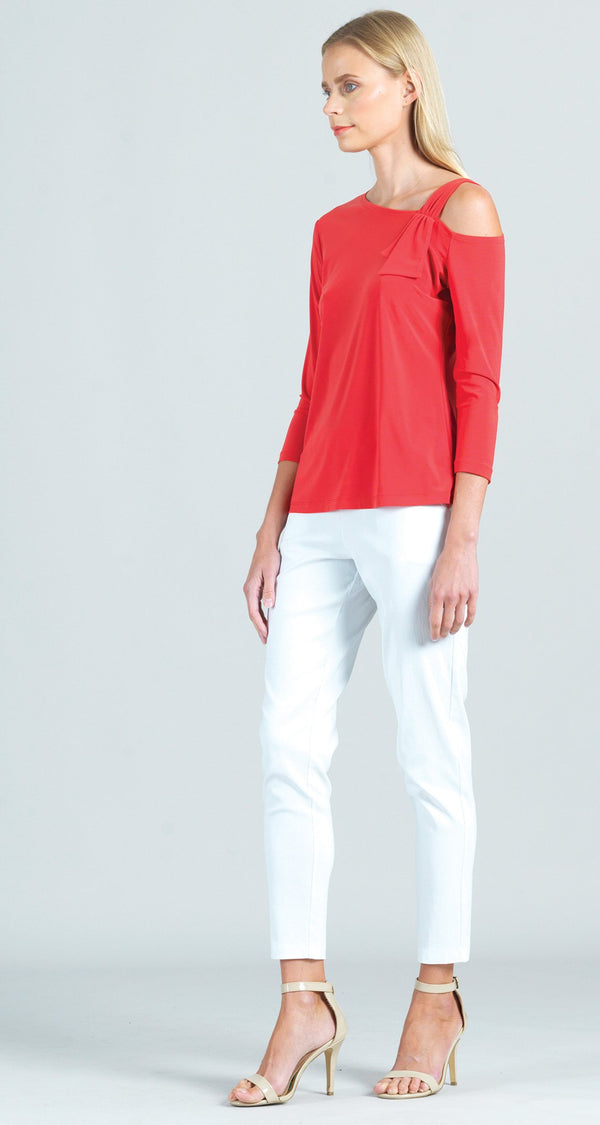 Drop Shoulder Ribbon Sleeve Detail Top - Coral