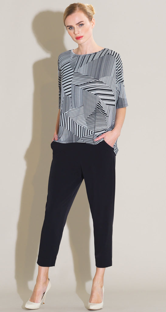 Geo Piano Stripe Print Top - White/Black