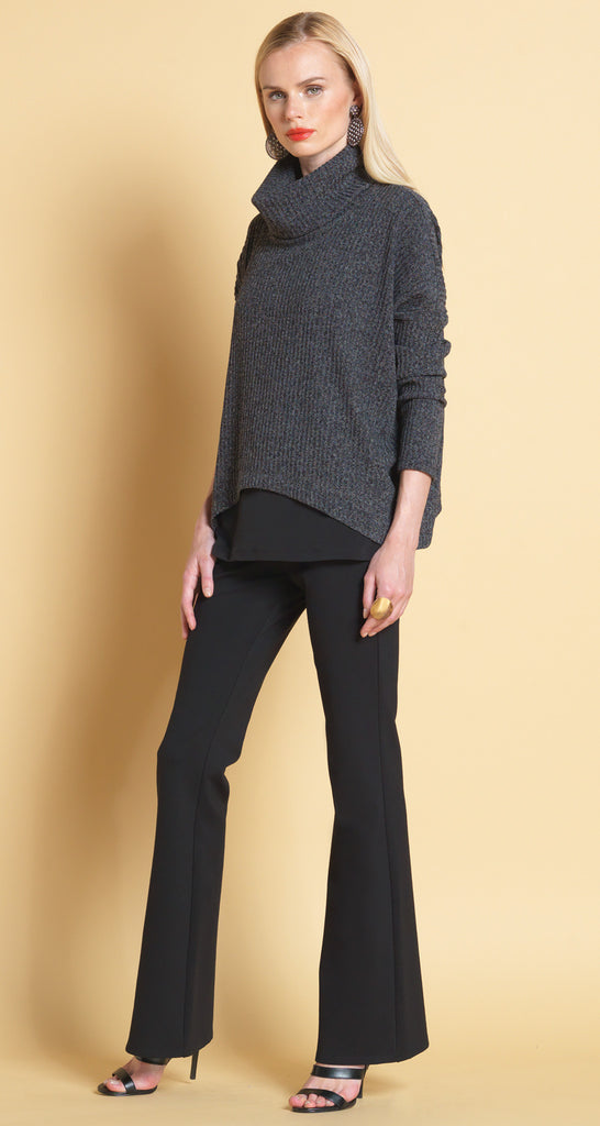 Turtleneck Ribbed Sweater - Charcoal
