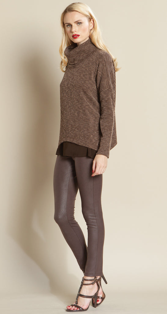 Ribbed Turtleneck Tipped Hem Sweater - Brown - Size XS to XL - Final Sale!