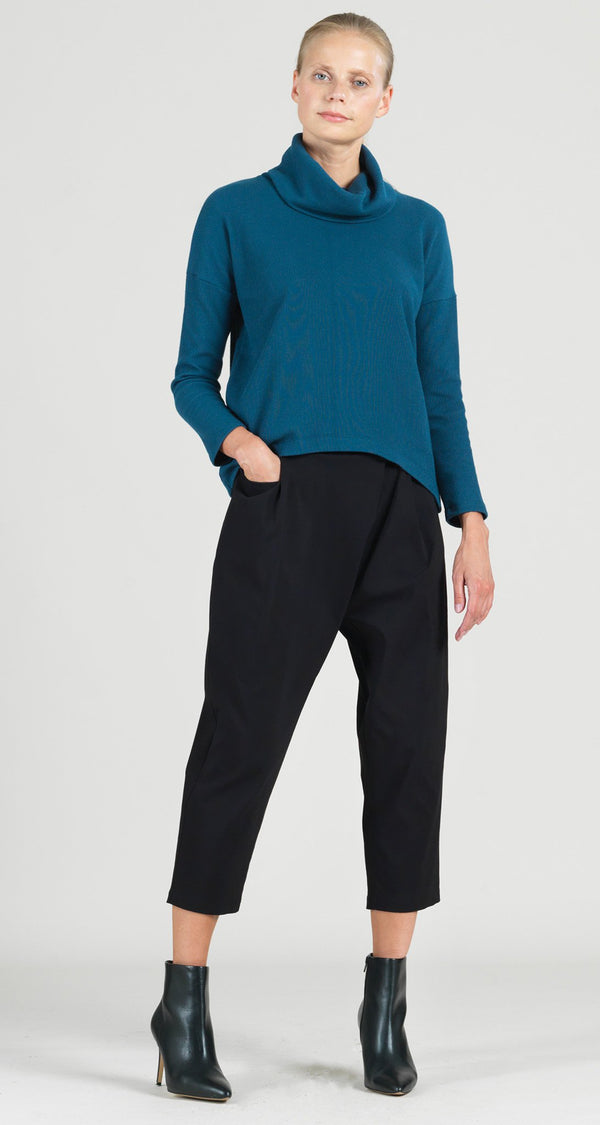 Ribbed Cowl Turtleneck Sweater Top - Blue