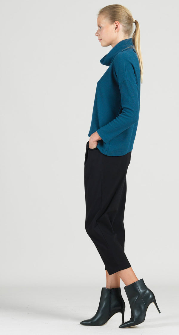 Ribbed Cotton Knit Tipped Hem Sweater Top - Blue - Final Sale!