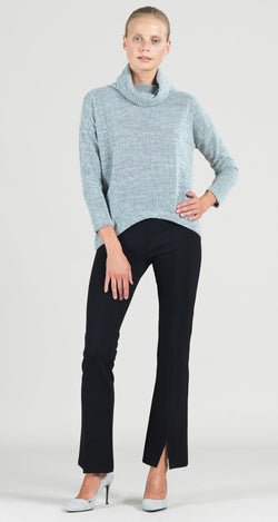 Waffle Knit Herringbone Stitch Tipped Hem Sweater Top