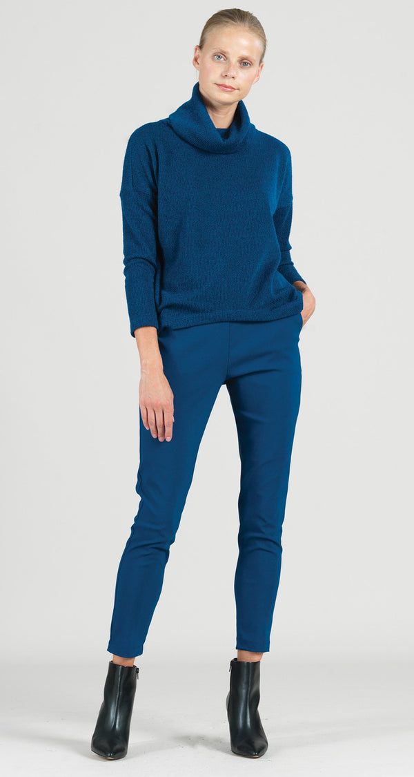 Cozy Twill Cowl Turtleneck Tipped Hem Sweater Top - French Blue