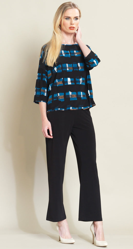 Square Print Loose Cut Top - Blue/Black