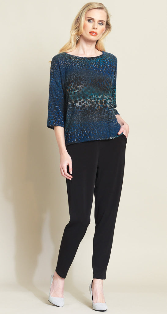 Animal Print Sweater Box Top - Blue Multi