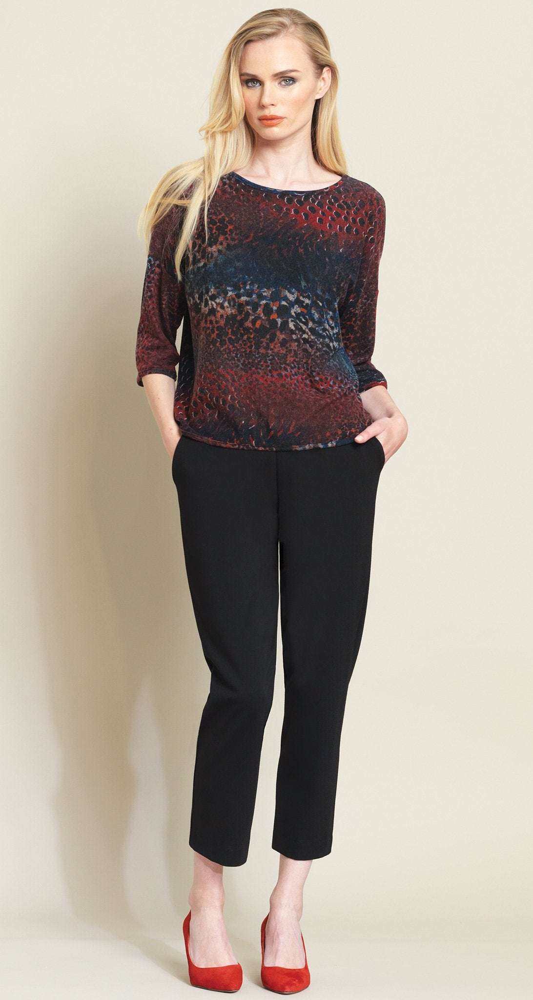 Animal Print Sweater Box Top - Merlot Multi - Clara Sunwoo