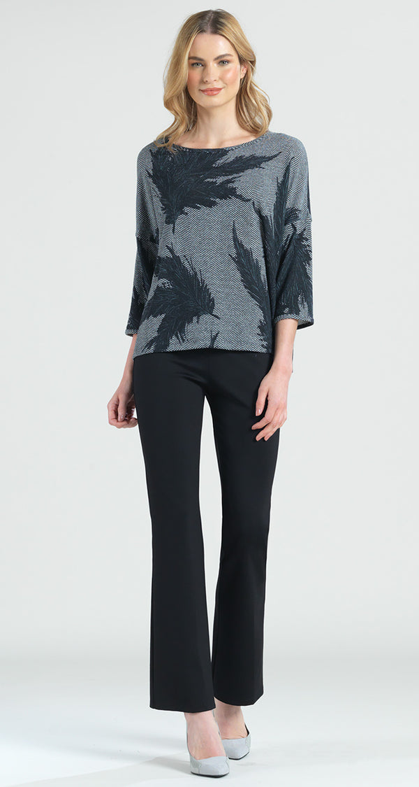 Feather Print Sweater Box Top - Final Sale! - Clara Sunwoo