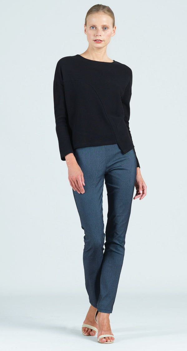 Ribbed Cotton Knit Modern Envelope Hem Top - Black - Final Sale!