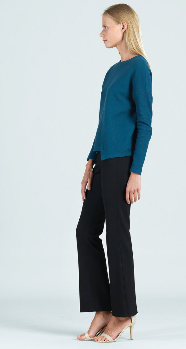 Ribbed Cotton Knit Modern Envelope Hem Top - Blue - Final Sale!