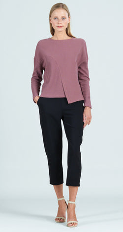 Ribbed Cotton Knit Modern Envelope Hem Top - Mauve - Final Sale!