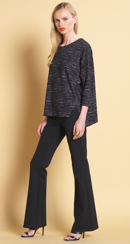 Textured Double V Hem Sweater Top