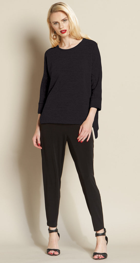 Hacci 2-Tone Modern Hem Sweater Top - Black - Final Sale!