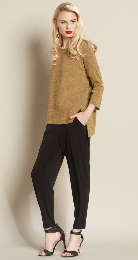 Hacci 2-Tone Modern Hem Sweater Top