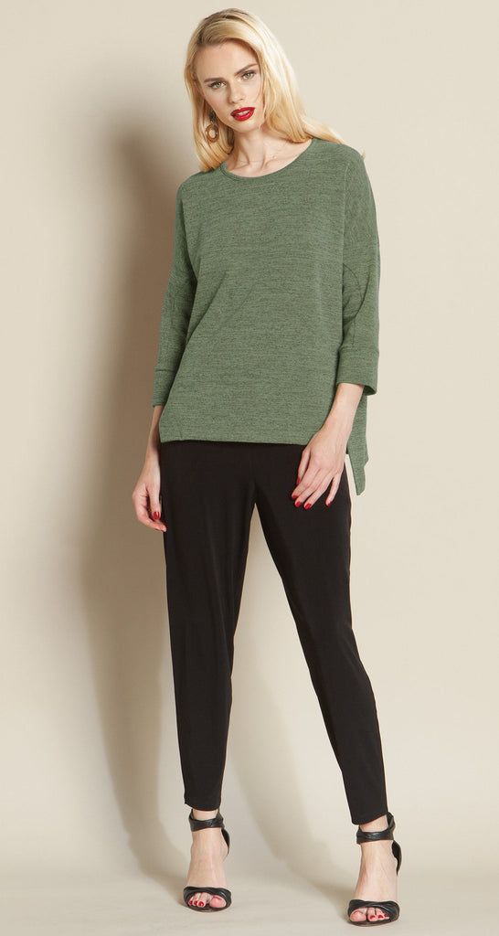 Hacci 2-Tone Modern Hem Sweater Top - Olive - Size XS, M & L - Final Sale!