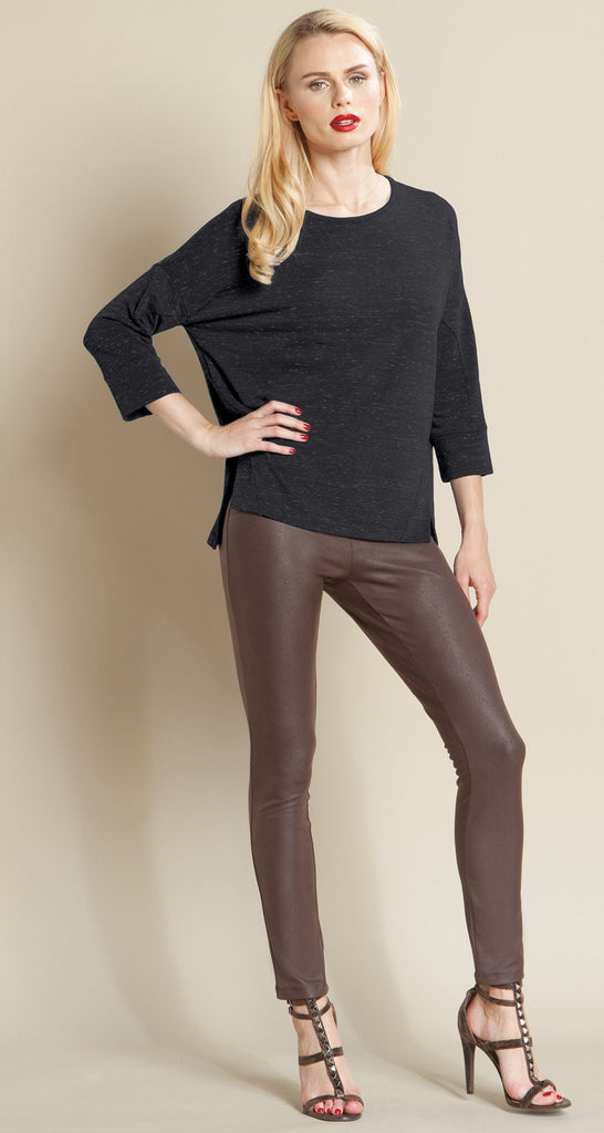 Heathered Pima Modern Hem Sweater Top