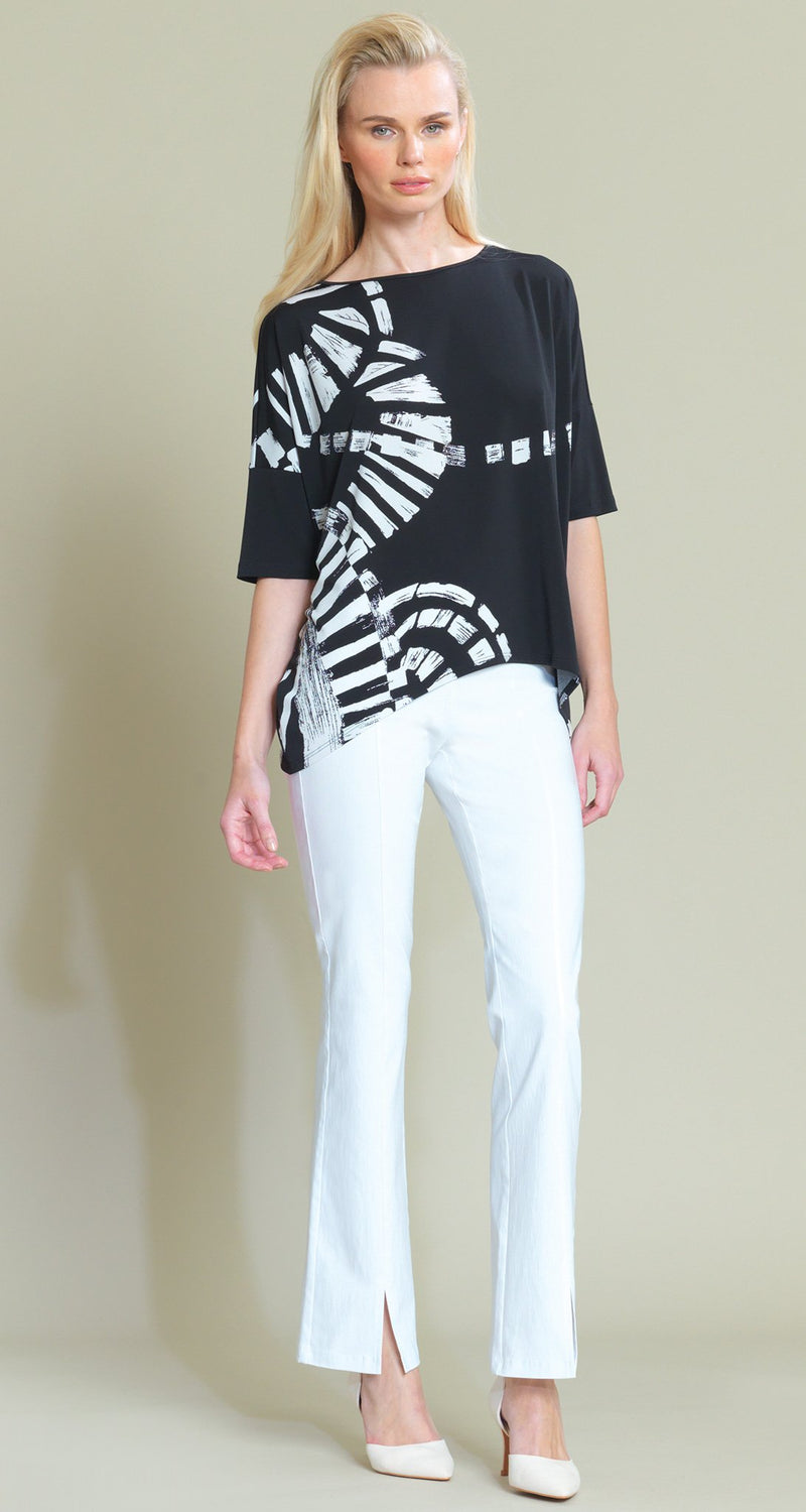 Track Print Tipped Hem Top - Black/White - Limited Sizes!