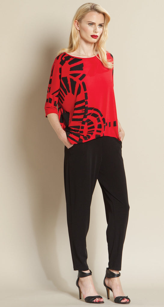 Track Print Tipped Hem Top - Red/Black