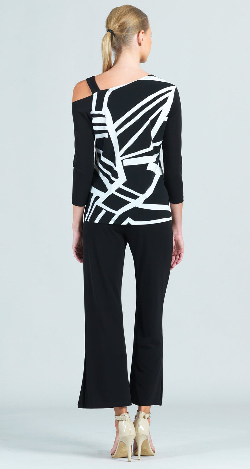 Zig Zag Stripe Print Drop Shoulder Ribbon Sleeve Detail Top