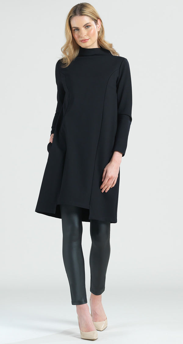 Ponte Funnel Neck Modern Hem Tunic Pocket Dress - Final Sale! - Clara Sunwoo