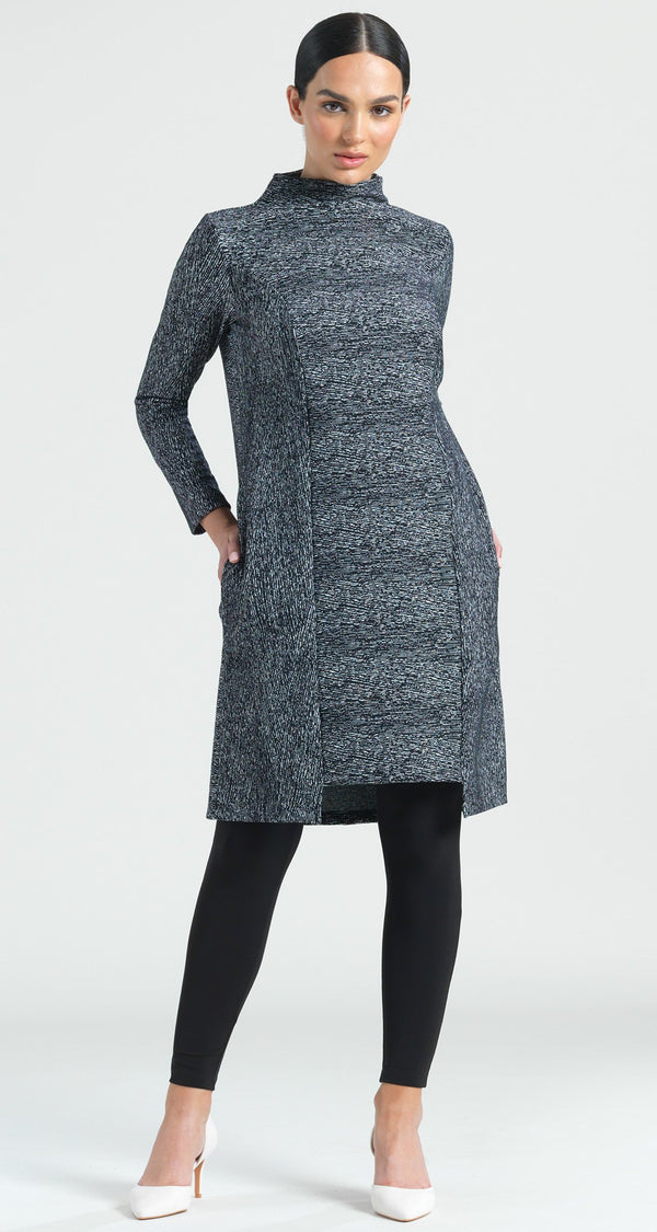 Jacquard Zigzag Print Modern Hem Tunic Pocket Dress - Final Sale! - Clara Sunwoo