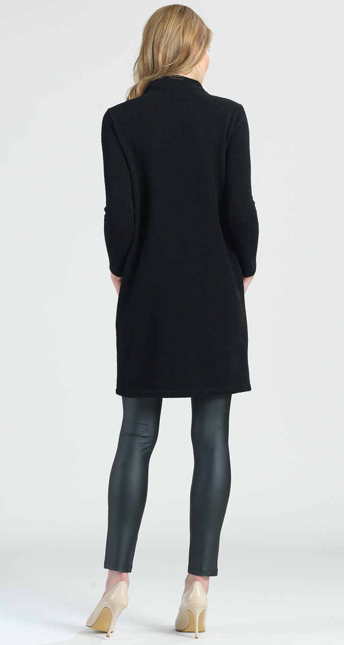 Funnel Neck Twill Sweater Tunic Pocket Dress - Black - Final Sale! - Clara Sunwoo
