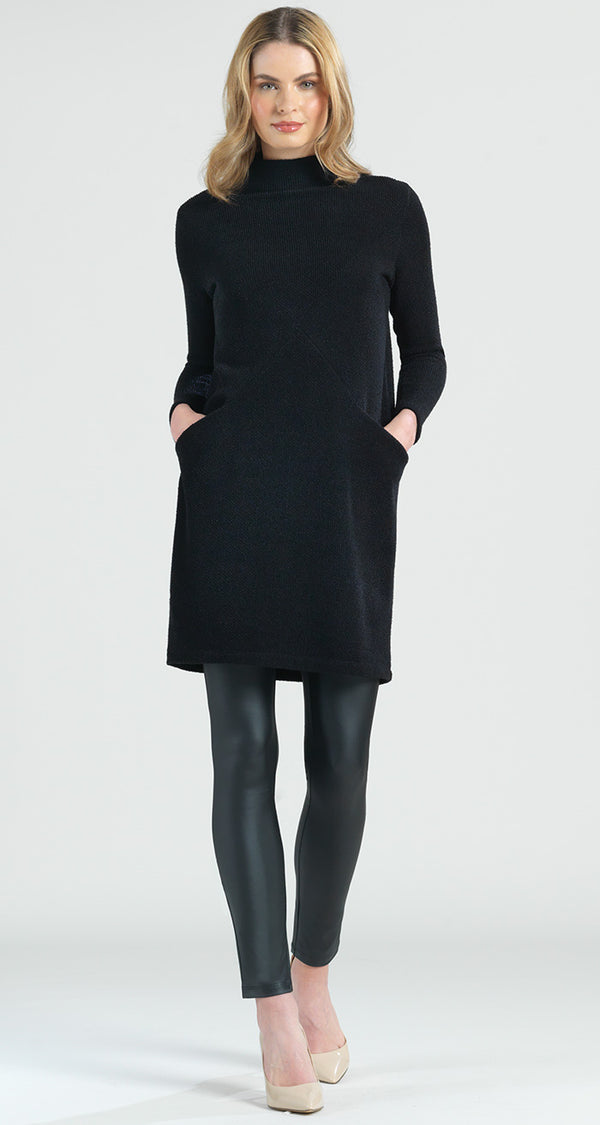 Funnel Neck Twill Sweater Tunic Pocket Dress - Black - Clara Sunwoo