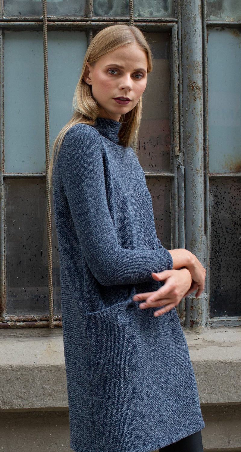 Funnel Neck Twill Sweater Tunic Pocket Dress - Navy - Final Sale! - Clara Sunwoo
