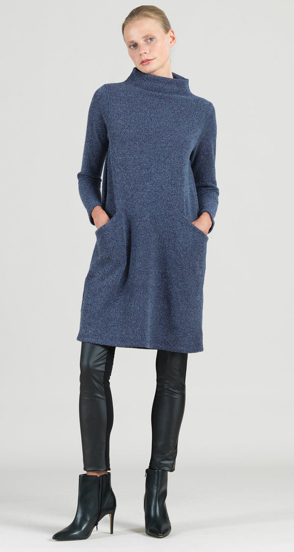Funnel Neck Twill Sweater Tunic Pocket Dress - Navy - Final Sale!