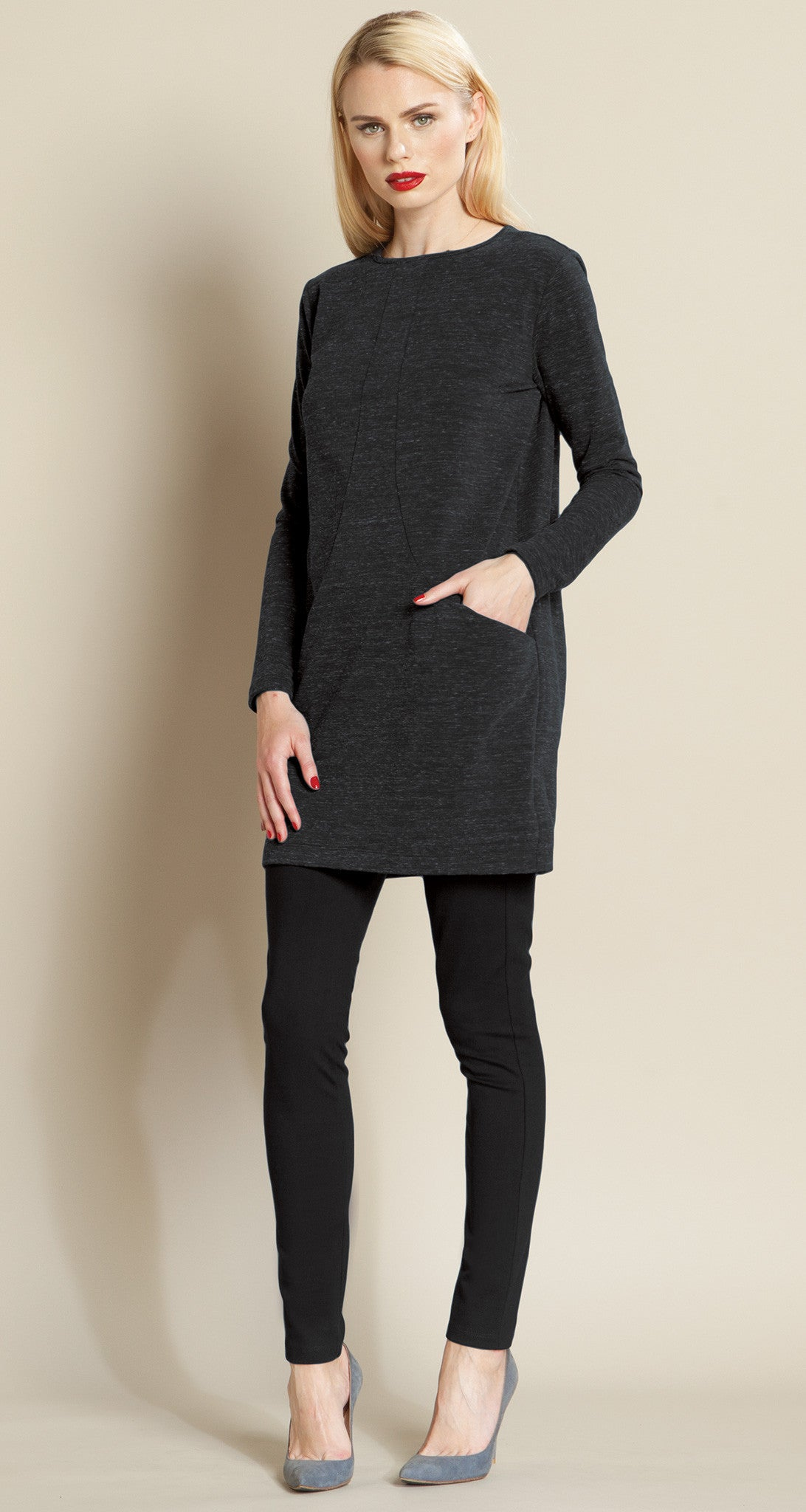 Heathered Pima Pocket Sweater Tunic - Clara Sunwoo