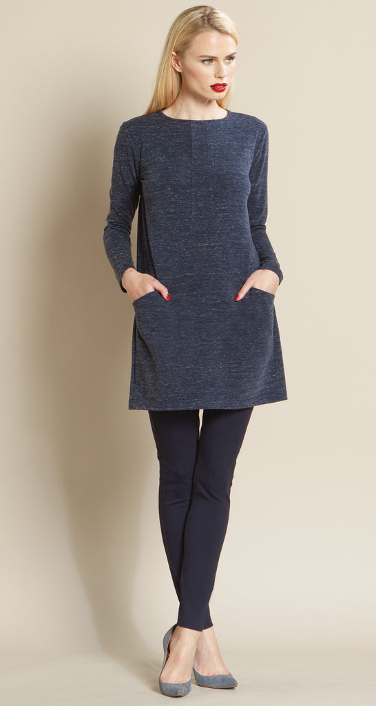 Heathered Pima Pocket Sweater Tunic - Navy - Final Sale!