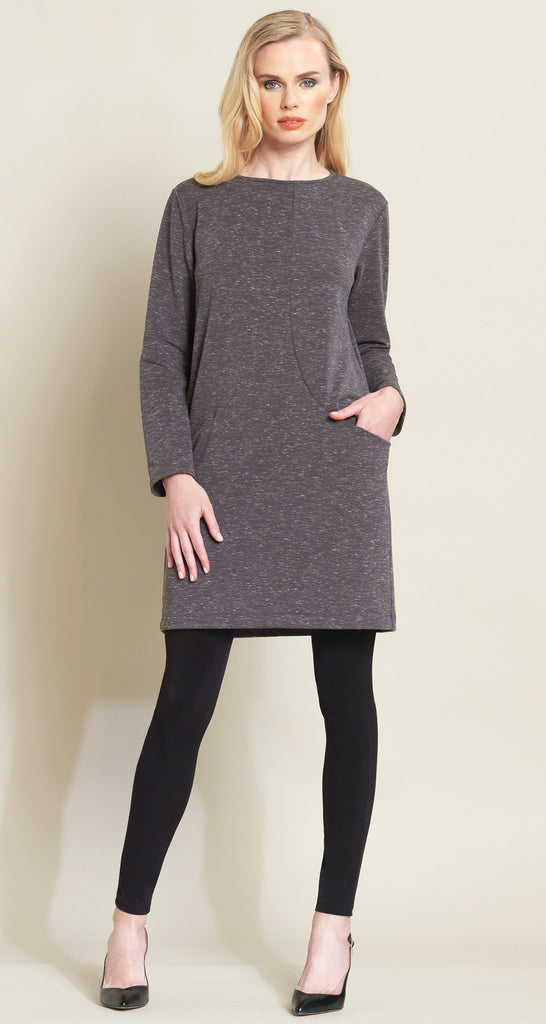 Heathered Sweater Pocket Slit Tunic Dress - Taupe
