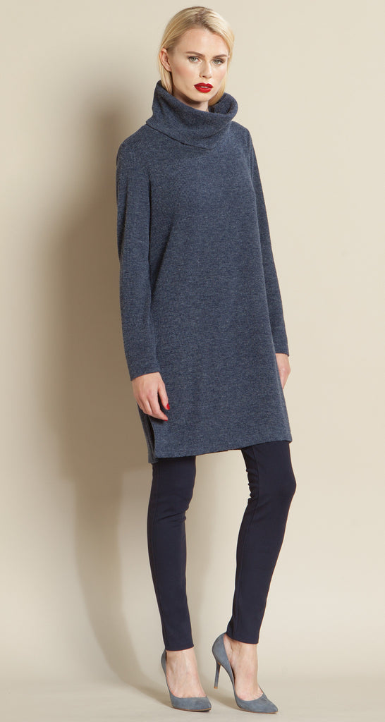 Ribbed Turtleneck Sweater Tunic - Navy
