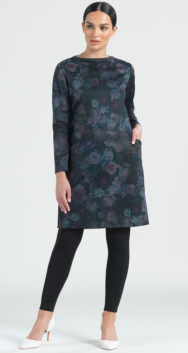 Ponte Floral Flash Print Tunic Pocket Dress - Final Sale! - Clara Sunwoo