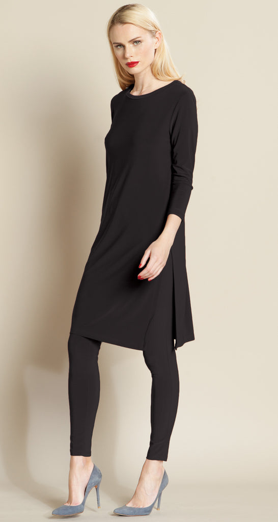 Side Vent Solid Tunic - Black
