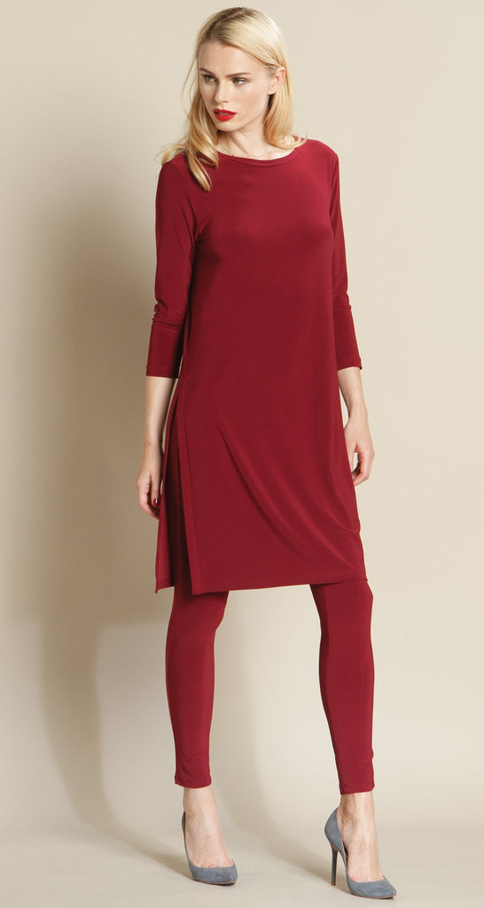 Side Vent Solid Tunic - Merlot - Final Sale!