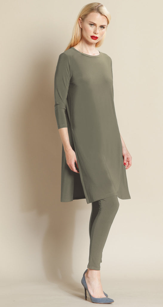 Side Vent Solid Tunic - Olive - Final Sale!