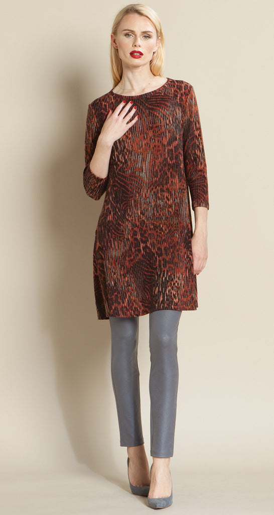 Animal Print Sweater Tunic Dress - Brick
