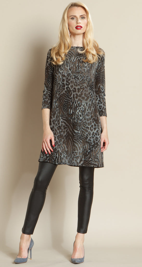 Animal Print Sweater Tunic Dress - Charcoal