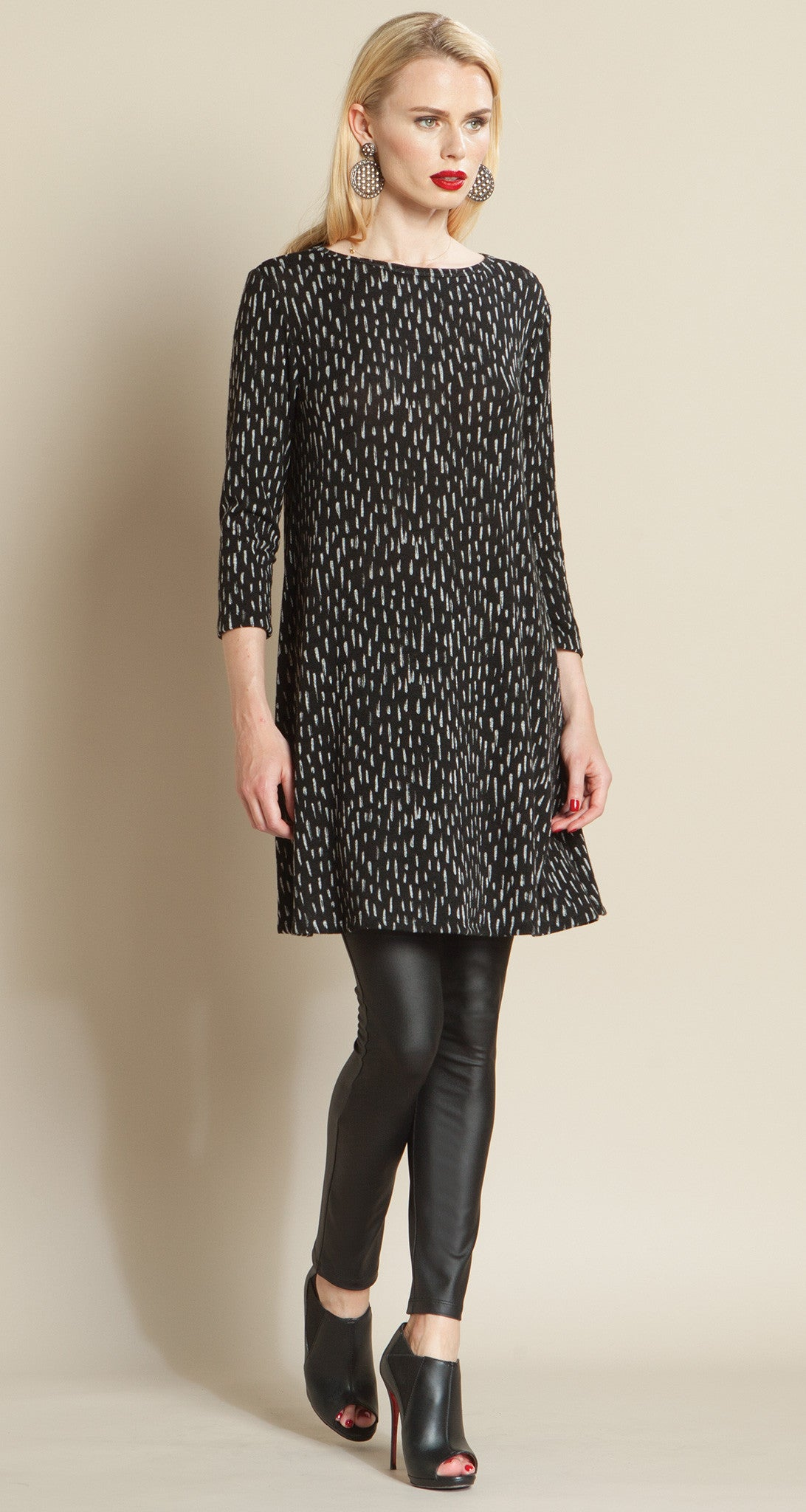 Rain Drop Print Sweater Tunic Dress - Clara Sunwoo