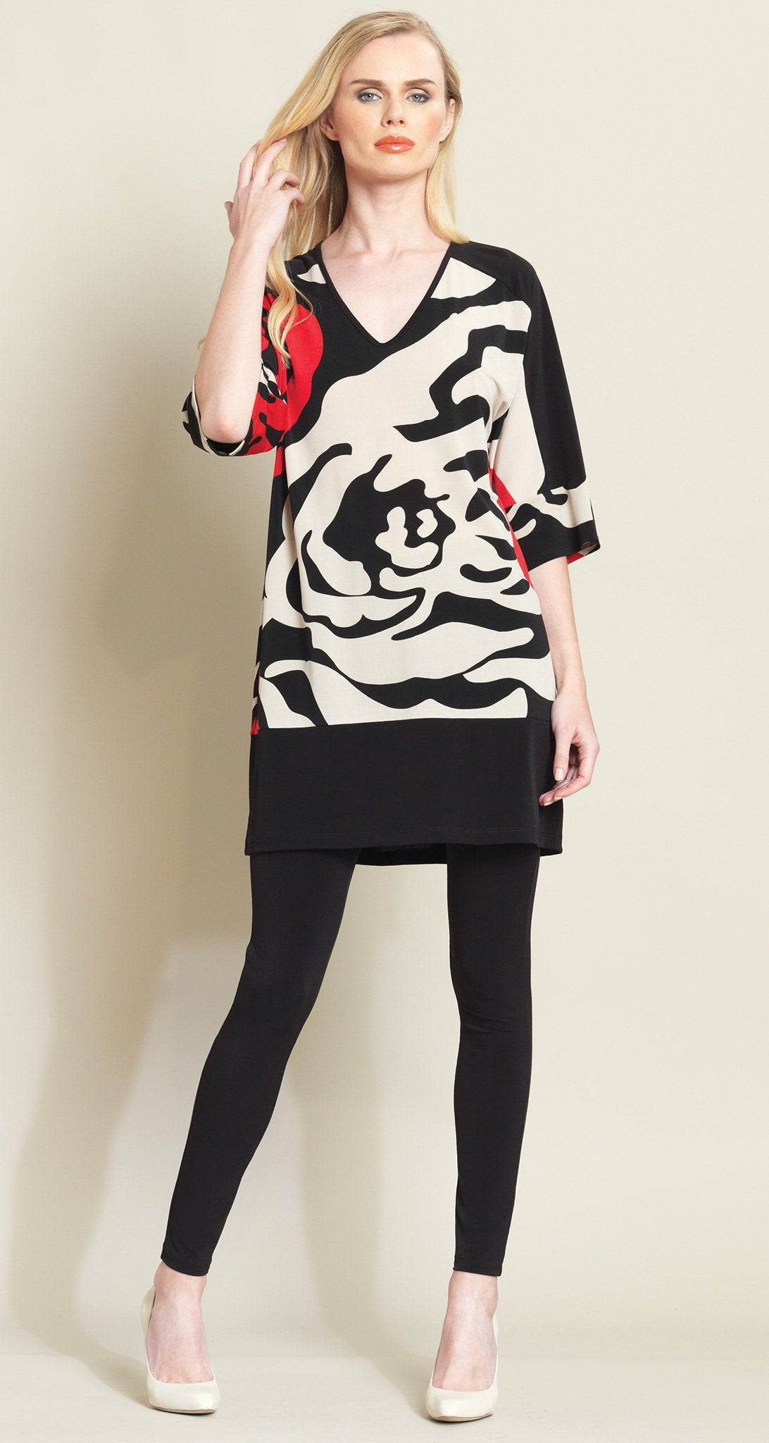 Rose Stamp V Tunic Dress - Beige/Black - Clara Sunwoo