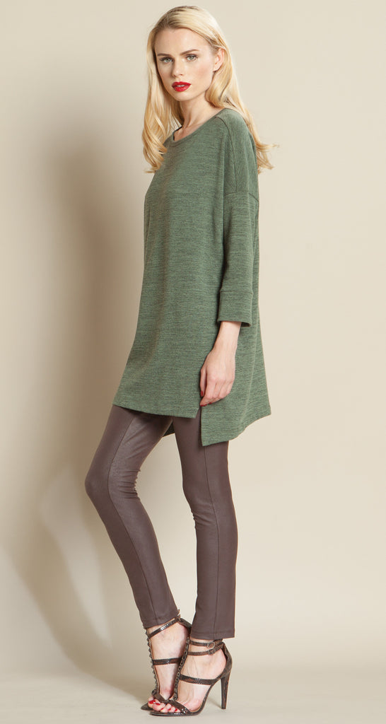 Modern Envelope Hem Sweater Tunic - Olive - Size S to XL - Final Sale!