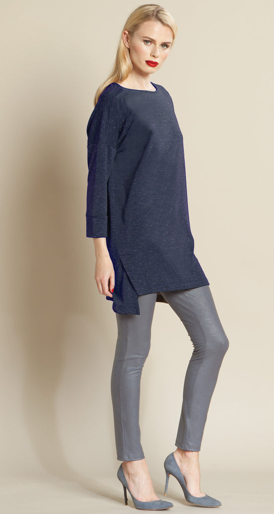 Modern Envelope Hem Pima Sweater Tunic - Navy - Size XS - Final Sale!