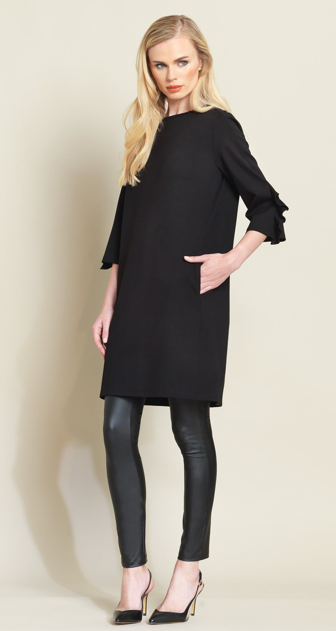 Ponte Ruffle Cuff Tunic Dress - Black - Clara Sunwoo