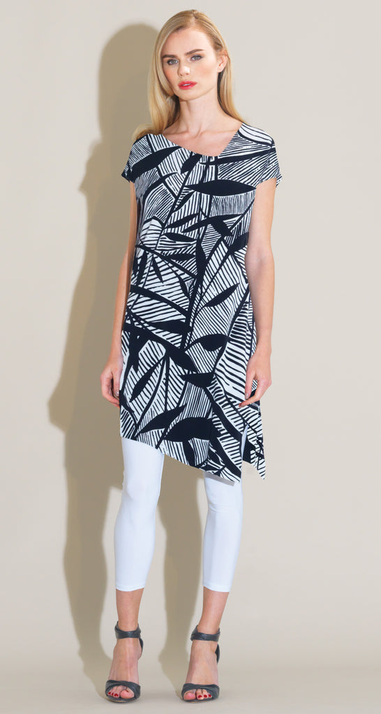 Modern Print Cap Sleeve Loose Tunic - Black/White - Final Sale