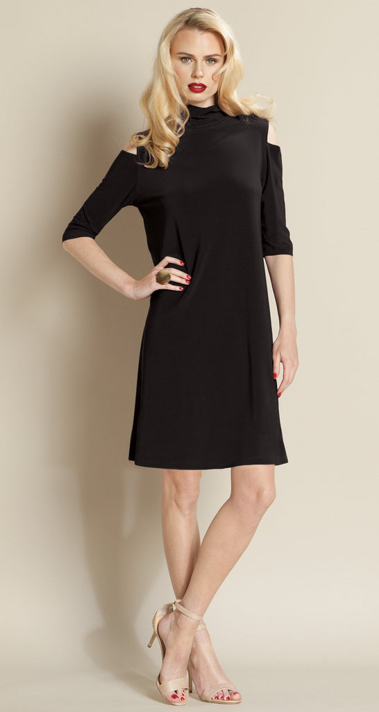 Mock Neck Open Shoulder Dress - Black - Final Sale