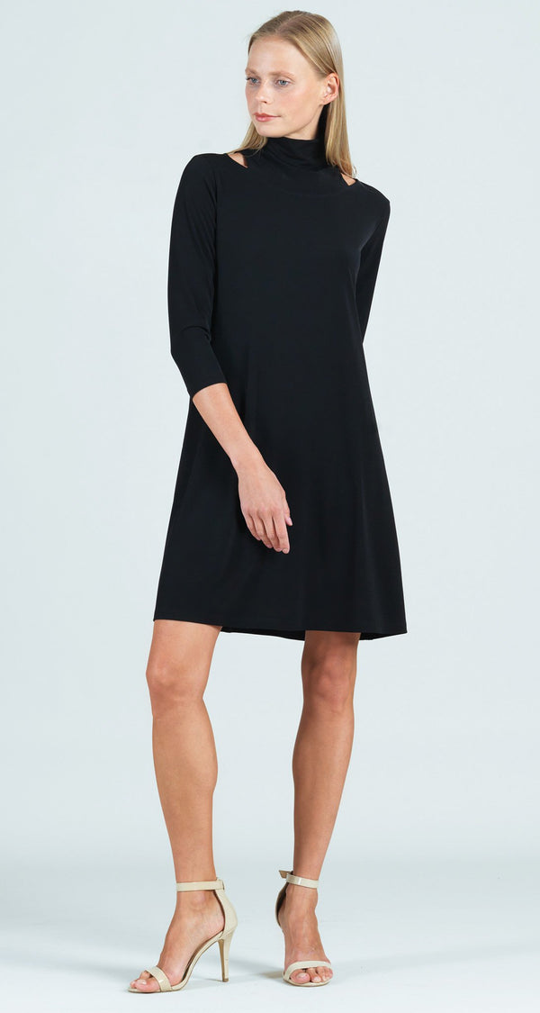 Mock Neck Cut Out Tunic Dress - Black - Final Sale!